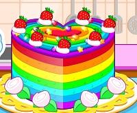 הכנת עוגה צבעונית